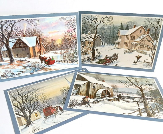 ON SALE Set of Vintage Christmas Postcards Greeting Cards Christmas Trees Sleigh Skating Horses Farms