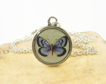 Butterfly Necklace, Purple Green Silver Pendant Necklace, Rustic Resin Insect Charm Jewelry
