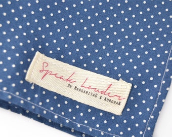 Mens Pocket Square Blue  and White dots Japanese cotton-
