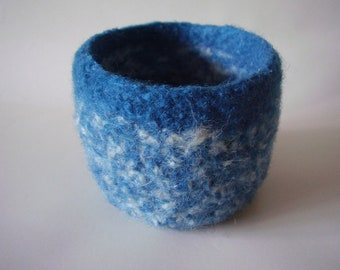 felted wool bowl container dark teal and cream