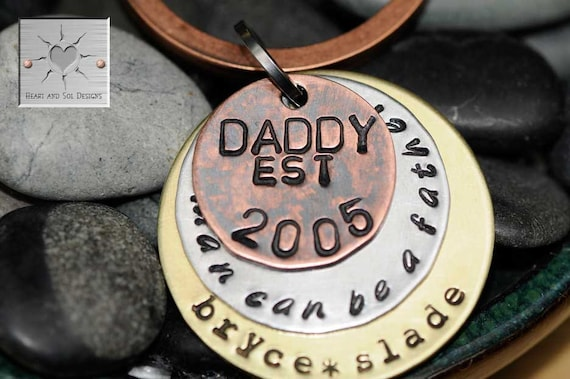 """Custom Unisex Mixed Metal Keychain for Dad - """"Any Man Can Be A Father"""" """"Daddy"""""""
