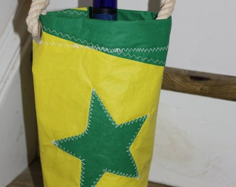 Yellow and green wine bag