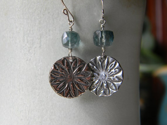 Flower stamped silver with mystic quartz