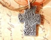 Jesus, Lover of My Soul. Christian Cross Statement. Fine Silver with Ribbon Chain. Jesus. ooak.
