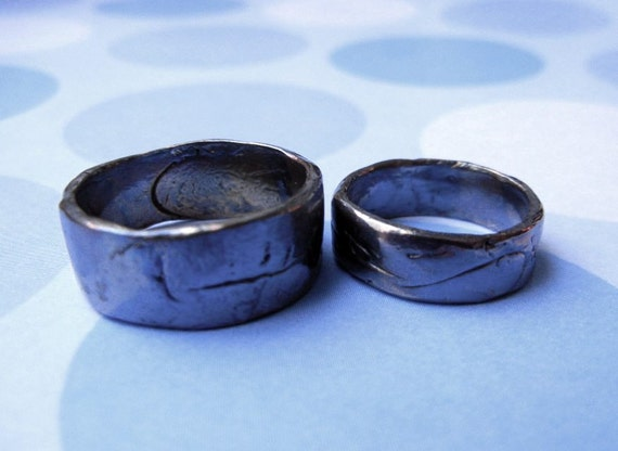 Matching Fine Silver Wedding Bands, Rustic, Heavy Purple Blue Gray ...
