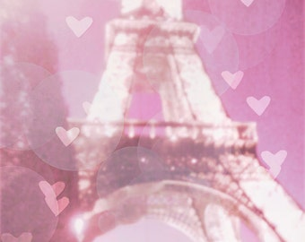 Eiffel Tower Photography, Pink Paris Photograpy, Pink Eiffel Tower, Paris Bokeh Hearts