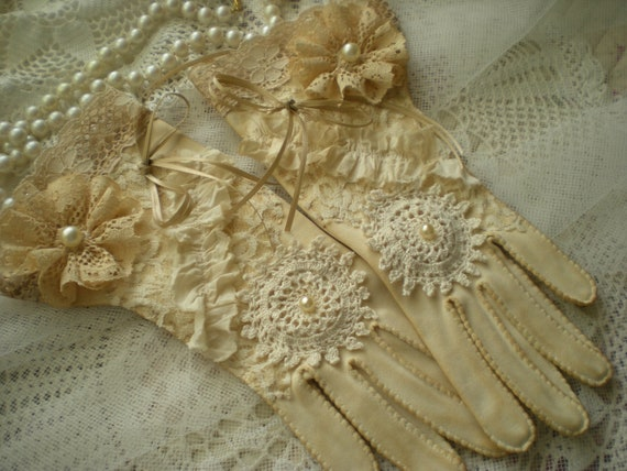 20% Off Holiday Sale Tea Stained Fancy Fu Fu Gloves Wedding Home Decor Display OOAK