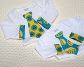 Newborn Twin Boys Longsleeve Tie and Cuff Onesies Gift Set - In Blue /Yellow Medallion and Leaf Print