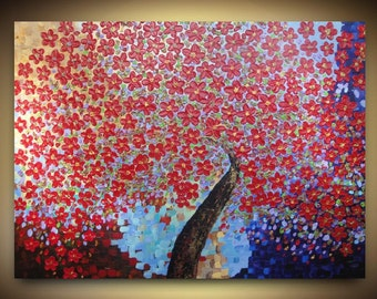 ORIGINAL ABSTRACT Acrylic Tree Painting Multicolour Cherry Blossom Impasto Landscape Ready to Hang on Wrapped Canvas