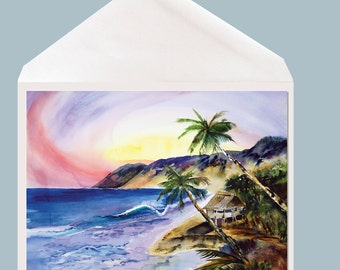 Tropical Hideaway Island Art Greeting Card by Dotty Reiman  - option to add personal message inside of stationary!