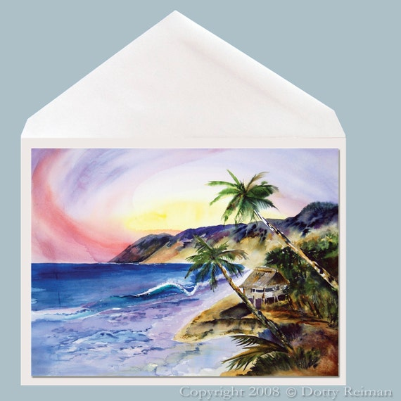 Tropical Hideaway Island Art Greeting Card by Dotty Reiman