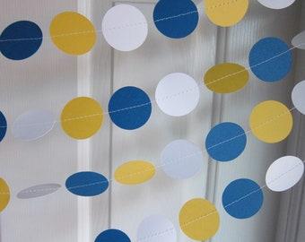 Holiday Garland, Hanukkah Decorations, Hanukkah Garland, Blue White and Yellow Garland, Hanukkah Paper Garland