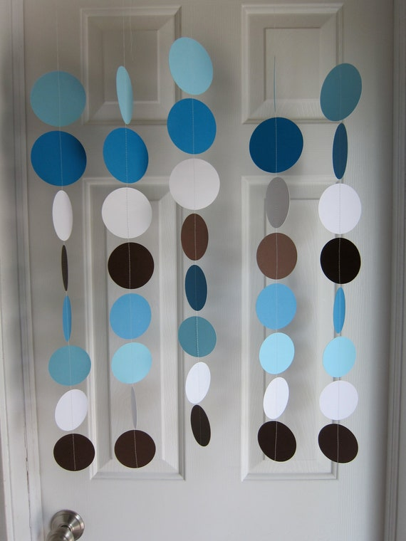 blue brown and white circles dangling decorations blue baby shower