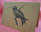 Hummingbird SET OF ANY 3 Greeting Note Cards Invitations Recycled Brown Kraft Cardstock with matching envelope 5 x 7""