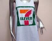 7 ELEVEN T-Shirt Women shirt Tank Tops Mini Dress sleeveless silk screen shirt Rock Punk classic backless charity White Q38 Size M