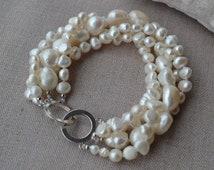 pearl bracelet,wedding bracelet,White pearl bracelet,freshwater pearl bracelet,4 rows 6-14mm pearl bracelet,real pearl bracelet
