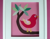 """An 8""""x10"""" fabric BIRD.  A 'Tweeting' BIRD perfect for your nursery.  Customised and Personalised for you."""