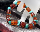 Tea & Turquoise Baltic Amber Adult Stretch Bracelet - Greek Style - Rare Barrel Beads - Genuine Turquoise Nuggets