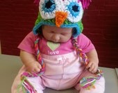 Baby Girl Owl hat with Earflaps Animal Hat Kids Babies Teens