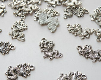 10 Dragon charms Year of the Dragon antique silver 19x13mm PZN28889