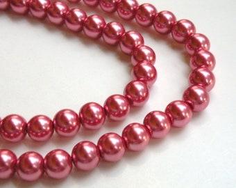 Dark pink rose glass pearl beads round 10mm full strand 9882GL