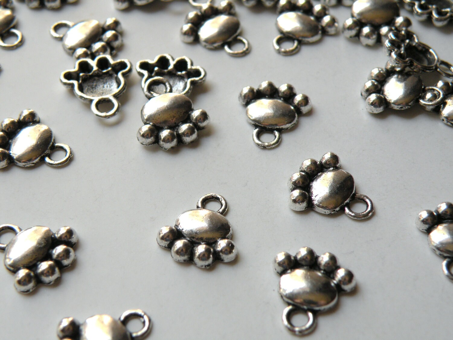 10 animal paw charms paw cat paw paw antique silver