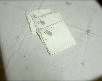Vintage Appliqué and Embroidered Tablecloth, Floral