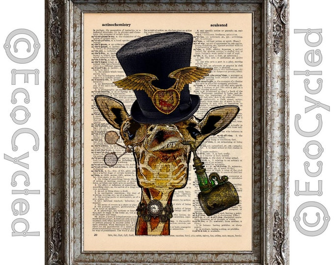 Steampunk Giraffe on Vintage Upcycled Dictionary Art Print Book Art Print Recycled Amazing Animalia