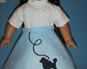 Blue Poodle Skirt and Short  Sleeve Tee fits American Girl ,18 inch  Doll ,
