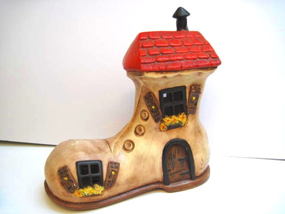 Vintage Mother goose ceramic boot  house