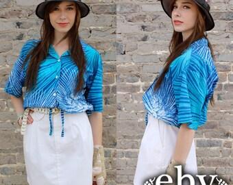 Vintage 70s Blue Batik Resort Cropped Blouse Top S M Cropped Top Crop Top Crop Blouse Vacation Shirt
