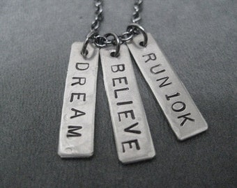 DREAM Believe RUN 10K - Running Necklace on 18 inch gunmetal chain - Perfect for the Road Race Runner - Track Gift