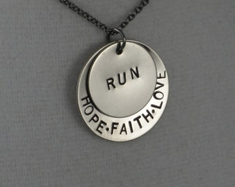 Hope Faith Love RUN Necklace - Running Jewelry Necklace on 18 inch gunmetal chain - Runner Jewelry