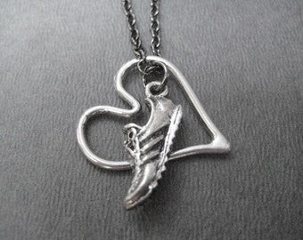 RUN WITH HEART Open Heart Necklace - Running Necklace on Gunmetal chain - Running Jewelry - Love to Run - Runners Jewelry - New Runner - Run