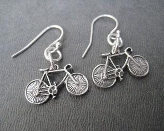BIKE Earrings - Biker Girl Sterling Silver Bike Earrings - Bike Jewelry - Sterling Silver Wire - Triathlon Earrings - Bicycle Earrings