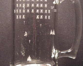 Galaga Atari inspired  Engraved Glass,  Pick your style