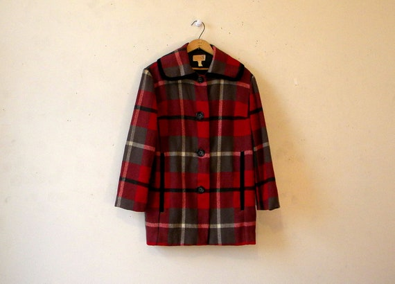 Plaid Pendleton Wool Coat Jacket / 60s 70s / Big Collar Beautiful Colors M-L