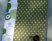 altered composition book, journal, notebook, diary - green, circles and polka dots
