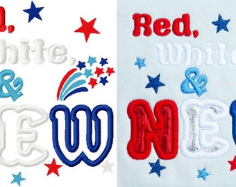 red white and new my first 4th of july embroidery design instant download