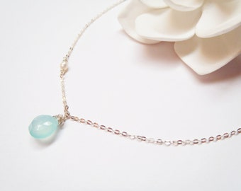 Chalcedony Sterling Silver Chain Necklace, Minimalist