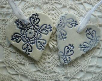 Heart Ornaments - Pendants - handmade ceramic snowflake designs