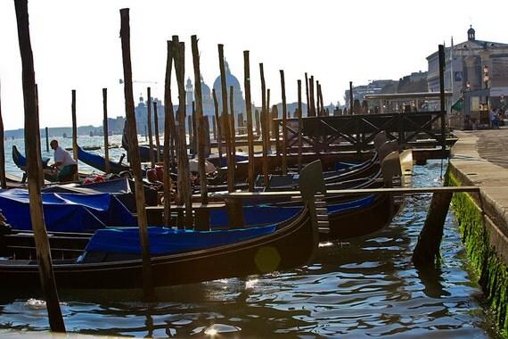 "Italy Photography, ""Sunset on the Gondolas"",  Travel Photography, Metallic Finish Print, Customizable Sizes Upon Request"