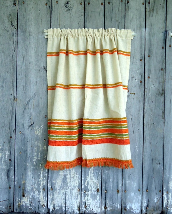 Funky Kitchen Curtains: Vintage Curtains Panels Cafe Window Treatment Set Fringe Retro