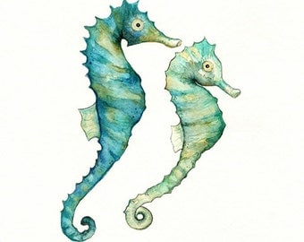 Seahorse Love /watercolor print/teal/light green/aqua/tan/sea/ocean life/ Archival Print
