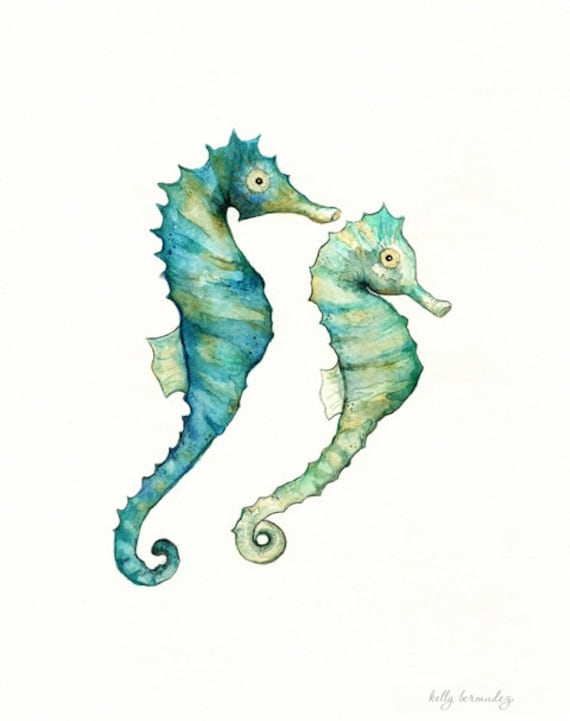 Items Similar To Seahorse Love watercolor Printteallight Greenaquatanseaocean Life