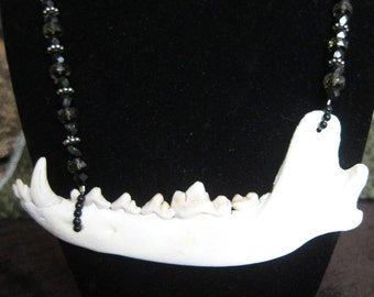 Real Coyote Jawbone Beaded Statement Necklace