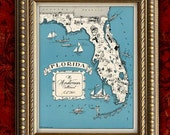 Custom MAP Art Print FLORIDA Vintage Retro Personalized Map Wedding Housewarming Gift Home Decor Wall Decor 8x10 All 50 States Available
