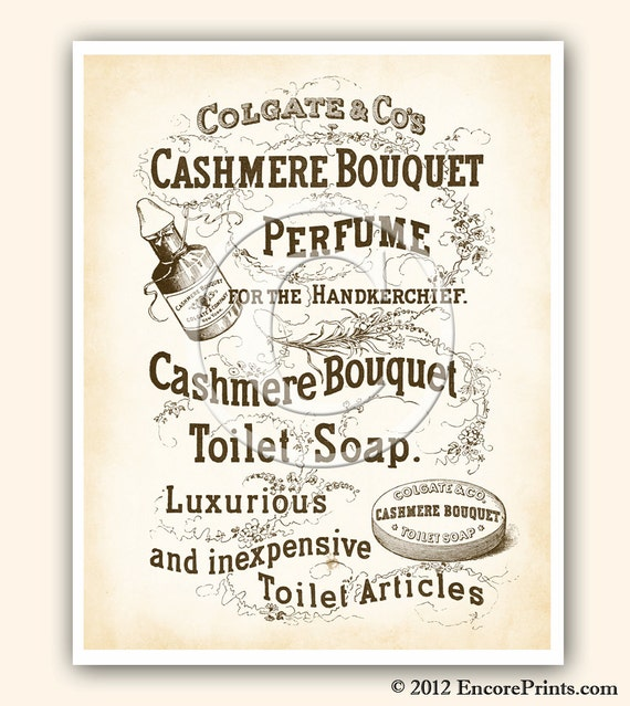 Items similar to vintage bathroom decor cashmere bouquet for Vintage bathroom printables