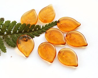18mm Large Leaf beads, Amber yellow leaves, czech glass, flat top drilled - 12Pc - 0431