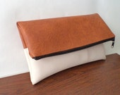 Tan and ivory foldover clutch / large pouch